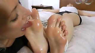 Tall Brunette Gets Bondage Feet Worshipped