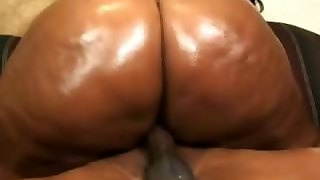 Chunky Ebony Sizes Up Our Cock