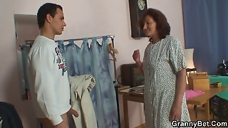 Sewing Granny Takes Her Customer's Cock