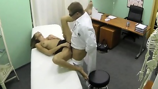Squirting Brunette Gets Fucked Hard By Her Doctor