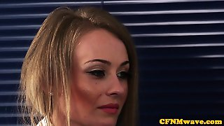 Glamorous Femdoms Tugging Cfnm Sub At Office