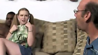 Pigtailed White Girl Big Black Cock Suck