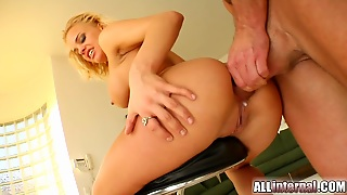 Dirty Blond Slut Brittney Gets Her Asshole Fucked In Foursome
