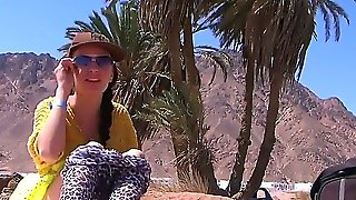 Slutty Brunette Aurita With Tight Sexy Body Reveals Her Big Juicy Tits At Public Beach In Egypt