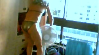 Hot And Skinny Blonde Skank On Webcam In Silver Bikini
