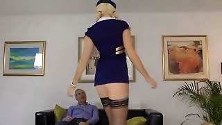 Amateur Stewardess In Stockings Fucks His Cock Hd