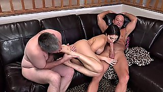 Brunette Sharing A Cock With Her Hu Hungry Sperm