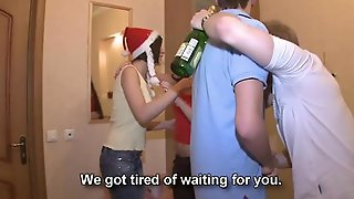 New Year Party With Champagne And Cum