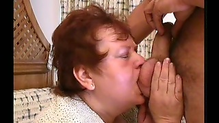 Fat Redhead Rides Dick With Her Soaking Wet Granny Pussy