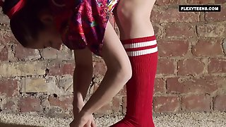 Hairy Teen In Red Stockings