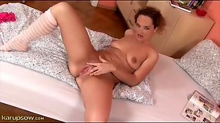 Solo Girl Strips To Socks And Fingers Pussy