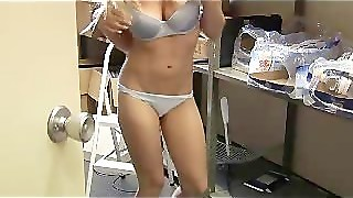 Tight Blonde Stripping At Office
