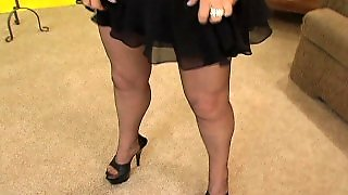 Hot Granny Shows Of Her Stockings