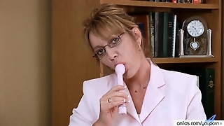Glasses, Masturbation, Office, Shaved, Dildostoys, Solo Girl, Mature, Milf, Solo, Pantyhose, Housewife
