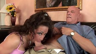 Nasty Whore Swallows His Old Man Dick