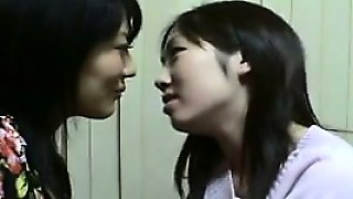Asian Cuties Kissing