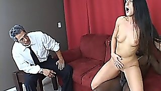 Husband Beats His Meat While Wife Luscious Lopez Gets Ra