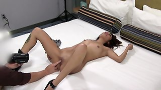 Vibrators Make The Pierced Nipples Girl All Wet In Bed