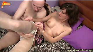 White Pantyhose Girl Hardcore Sex With Foot Play