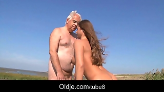 Big Tits Teen Fucks Oldman On The Beach
