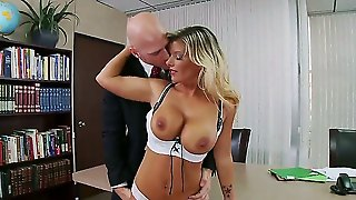 Kristal Summers Is The Best, Because She Knows How To Make Her Lovely Boss Fully Satisfied. First Of All She Seduces Him With Big Boobs And Then Makes A Deep Blowjob As A Reward
