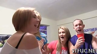 Arousing Cock Pleasuring College Party With Skinny Teens
