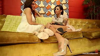 Two Tattooed Girls Lick Feet And Toy Each Others Pussies