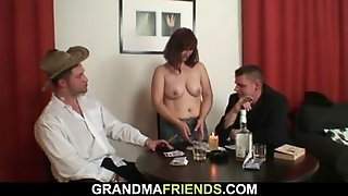 Threesome With Hot Mature Woman In Stockings