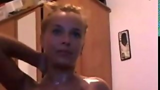 Blonde Babe Gets Oiled Up Live