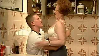 Straight, Couple, Redhead, Facial, Natural Tits, Trimmed Pussy, Hd, Granny, Kitchen, Glasses, From Behind