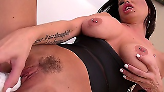 Brandy Rocks Her Sweet Pussy With Her Big White Vibrating Dildo