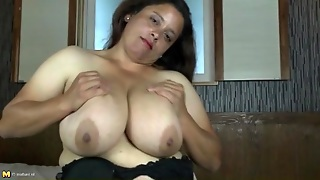 His Dick Gets Hard Between Her Big Mature Boobs