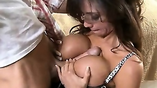 Very Sexy Brunette With Huge Boobs Sucking Fat Cock