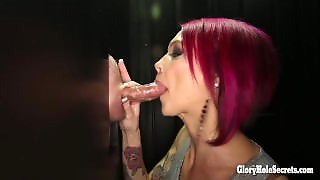 Gloryhole Secrets Tattooed Beauty Swallows Lots Of Cum