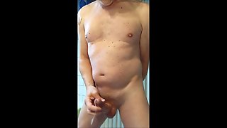 Jerking Bondage Cock In My Bathroom