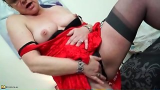 Irresistible Old Lady In A Party Dress Has Great Tits