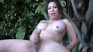 Busty Shemale Jerking Off Teasingly Outdoors