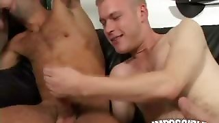 Horny Blonde Gay Jamie Slurping An Impossible Cock On The Couch