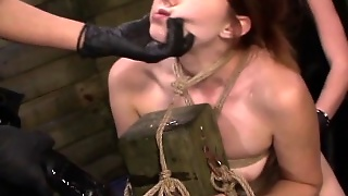 Sub Gagging On Strapon In Femdom Threeway