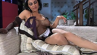 Busty Milf Maid Esther B Seduces Herself With Slinky Pantyhose And Sex Toys