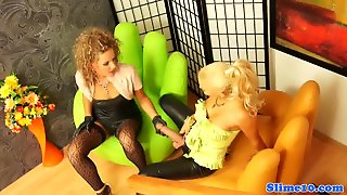 Stockinged Les Straponfucked And Cumdrenched