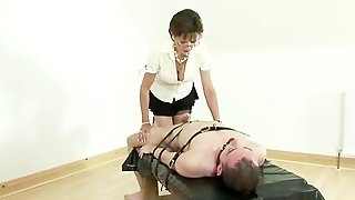 Lady Sonia Gets Jerking On Bound Up Strapped Up Cock