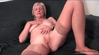 Saggy Granny Strips To Stockings And Masturbates