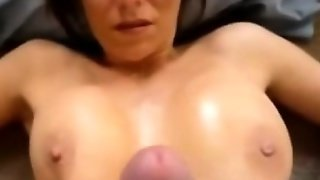 Cumming All Over Her Perfect Big Tits