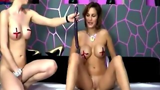 Sweet Lesbians Babes Shared One Toy
