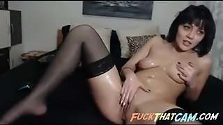Sexy Brunette Slut On Webcam Teasing And Toying Her Wet Pussy