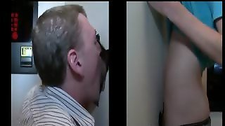 Gloryhole Blowjob With Gay Stud