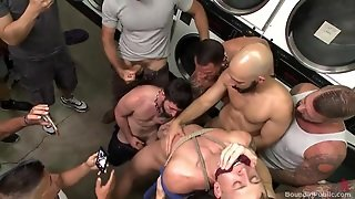 Guy Gets Bonded In Laundry Room