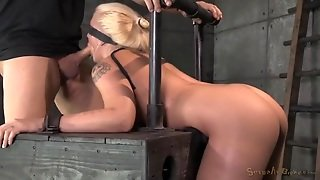 Blindfolded Girl Gags On His Dick And Gets Laid