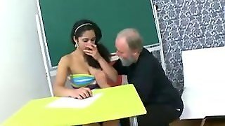 Tricky Old Teacher -Lara Tries To Learn The Study Material With Her Teacher